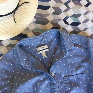 J. CREW boy shirt - polka-dot chambray - 0 - XS
